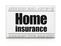 Insurance concept: newspaper headline Home Insurance. On White background, 3D rendering Royalty Free Stock Photo