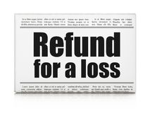 Insurance concept: newspaper headline Refund For A Loss Royalty Free Stock Image