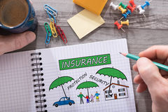 Insurance concept on a notepad Royalty Free Stock Photography