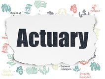 Insurance concept: Actuary on Torn Paper background. Insurance concept: Painted black text Actuary on Torn Paper background with Scheme Of Hand Drawn Insurance Stock Image
