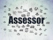 Insurance concept: Assessor on Digital Data Paper background Stock Photography