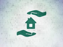 Insurance concept: House And Palm on Digital Data Paper background. Insurance concept: Painted green House And Palm icon on Digital Data Paper background Royalty Free Stock Image