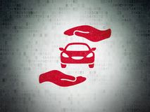 Insurance concept: Car And Palm on Digital Data Paper background. Insurance concept: Painted red Car And Palm icon on Digital Data Paper background Royalty Free Stock Photo