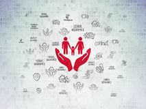 Insurance concept: Family And Palm on Digital Data Paper background. Insurance concept: Painted red Family And Palm icon on Digital Data Paper background with Stock Photos