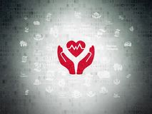 Insurance concept: Heart And Palm on Digital Data Paper background. Insurance concept: Painted red Heart And Palm icon on Digital Data Paper background with Royalty Free Stock Photo