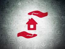 Insurance concept: House And Palm on Digital Data Paper background. Insurance concept: Painted red House And Palm icon on Digital Data Paper background with Stock Photos