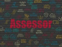 Insurance concept: Assessor on wall background. Insurance concept: Painted red text Assessor on Black Brick wall background with  Hand Drawn Insurance Icons Royalty Free Stock Photos