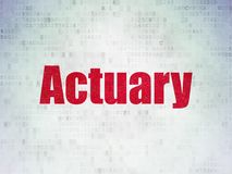 Insurance concept: Actuary on Digital Data Paper background. Insurance concept: Painted red word Actuary on Digital Data Paper background Royalty Free Stock Photo