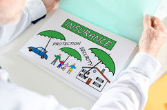 Insurance concept on a paper Stock Images