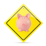 Insurance concept. Piggy bank on a warning road sign, white background Stock Image