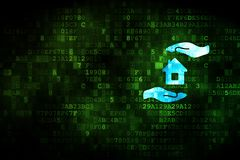 Insurance concept: House And Palm on digital background. Insurance concept: pixelated House And Palm icon on digital background, empty copyspace for card, text Stock Image