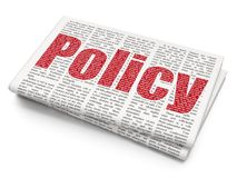 Insurance concept: Policy on Newspaper background. Insurance concept: Pixelated red text Policy on Newspaper background, 3D rendering Royalty Free Stock Image