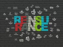Insurance concept: Reinsurance on wall background. Insurance concept: Painted multicolor text Reinsurance on Black Brick wall background with  Hand Drawn Stock Photography