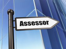 Insurance concept: sign Assessor on Building background. 3D rendering Stock Photo