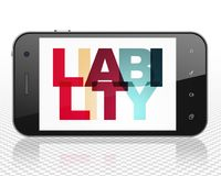 Insurance concept: Smartphone with Liability on  display. Insurance concept: Smartphone with Painted multicolor text Liability on display, 3D rendering Stock Photos