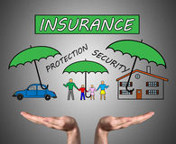 Insurance concept sustained by open hands Stock Photos