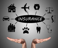 Insurance concept sustained by open hands Royalty Free Stock Image