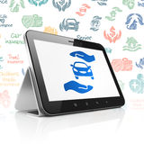 Insurance concept: Tablet Computer with Car And Palm on display. Insurance concept: Tablet Computer with  blue Car And Palm icon on display,  Hand Drawn Royalty Free Stock Photos