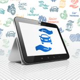 Insurance concept: Tablet Computer with Car And Palm on display. Insurance concept: Tablet Computer with  blue Car And Palm icon on display,  Hand Drawn Stock Photos