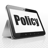 Insurance concept: Tablet Computer with Policy on display. Insurance concept: Tablet Computer with black text Policy on display, 3D rendering Royalty Free Stock Images