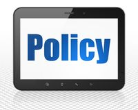 Insurance concept: Tablet Pc Computer with Policy on display. Insurance concept: Tablet Pc Computer with blue text Policy on display, 3D rendering Royalty Free Stock Image