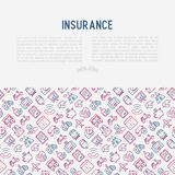 Insurance concept with thin line icons. Health, life, car, house, savings. Modern vector illustration for banner, template of web page, print media Royalty Free Stock Image