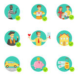 Insurance Contract Protecting Smiling People In Case Of Misfortune Insurance Company Services. Infographic Illustrations. Set Of Vector Icons With Types Of Stock Photos