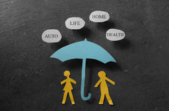 Insurance coverage concept. Paper couple under an umbrella with Auto, Health, Life, and Home bubbles -- insurance concept Stock Photography