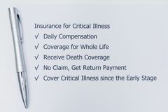 Insurance for Critical Illness. Benefits of doing Insurance for Critical Illness Royalty Free Stock Photos