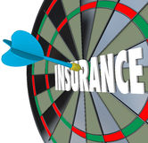 Insurance Dart Board Word Choosing Best Policy Plan Coverage Stock Photos