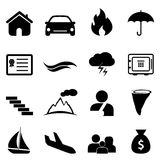 Insurance and disaster icon set. Insurance, accident and disaster icon set Stock Photo