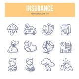 Insurance Doodle Icons Stock Images