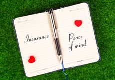 Insurance equal peace of mind stock image