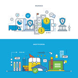 Insurance, finance, modern education, learning, teaching and research, business. Concept of illustration - insurance, finance, management, modern education and Stock Image
