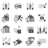 Insurance flat icon set Stock Photography