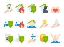 Insurance flat icons. insurance vector icons set.  Royalty Free Stock Image