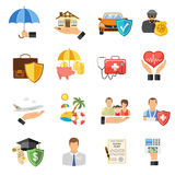 Insurance Flat Icons Set Stock Photography