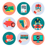 Insurance flat icons set. Vector illustration, EPS 10 Royalty Free Stock Photography