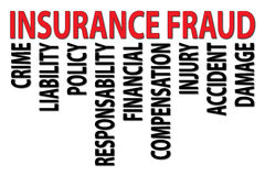 "Insurance fraud. Text ""insurance fraud"" in red uppercase letters  with related terms below including, crime, liability, policy, responsibility, financial Royalty Free Stock Photography"
