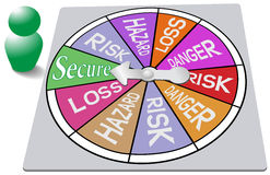 Insurance game board security risk spin Stock Photo