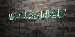 INSURANCE - Glowing Neon Sign on stonework wall - 3D rendered royalty free stock illustration Royalty Free Stock Photography