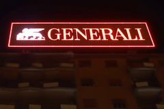 Insurance group Generali sign. Rome, Italy - June 2017: italian insurance group Generali sign illuminated by night Stock Image