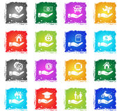 Insurance hand icon set Royalty Free Stock Photography