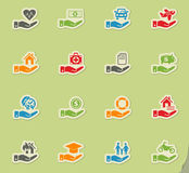 Insurance hand icon set Royalty Free Stock Images