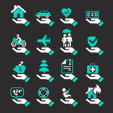 Insurance hand icons set. Stock Photos
