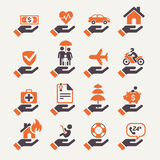 Insurance hand. Icons set. Vector Illustration