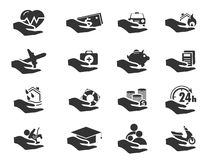 Insurance hands icons Royalty Free Stock Image