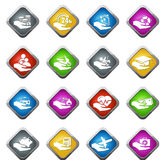 Insurance hands icons Stock Photography