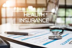 Insurance health concept, paper insurance on table with selective focus. royalty free stock image