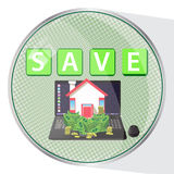 INSURANCE HOME AND FINANCE ONLINE button. Concept. illustration. LAPTOP WITH HOME AND MONEY Royalty Free Stock Image